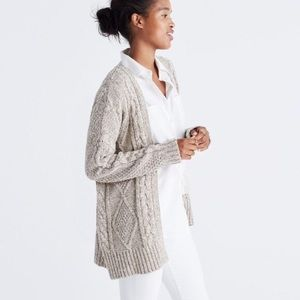 Madewell Cable Knit Open Front Sweater | Size xs